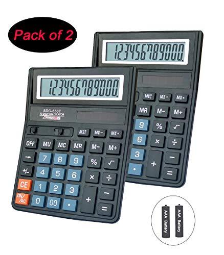 Basic CalculatorBESTWYA 12-Digit Dual Power Handheld Desktop Calculator with Large LCD Display Big Sensitive Button Black Pack of 2