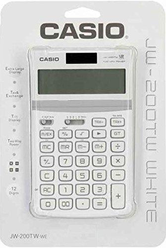 Casio Jw-200tw-we 12-Digit Calculator Gt Dual Power Jw200tw White