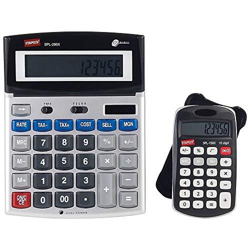 Staples 2 pack calculators SPL-290X 12 Digit Calculator-desktop and SPL-150X-pocket