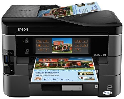 Epson WorkForce 840 Wireless All-in-One Color Inkjet Printer Copier Scanner Fax C11CA97201