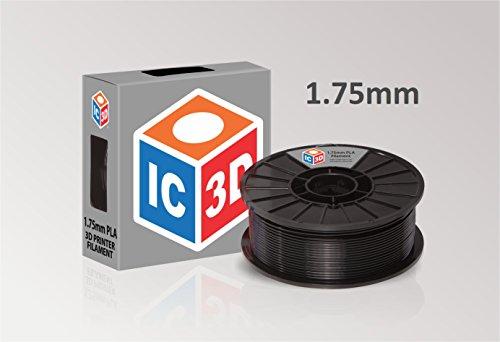 IC3D Black 175mm PLA 3D Printer Filament - 2lb Spool - Dimensional Accuracy - 005mm - Professional Grade 3D Printing Filament - MADE IN USA