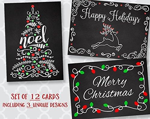 Christmas Cards Vintage Holiday Chalkboard Retro Seasonal Happy Holidays Noel Blackboard Reindeer Yule Christmas Tree Lights Reindeer 12 Assorted Greeting Cards with Envelopes Assortment Pack