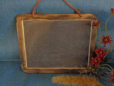 Rustic Slate Chalkboard Vintage Antique Double Sided 9 x 7 Dark Wood Frame Strap