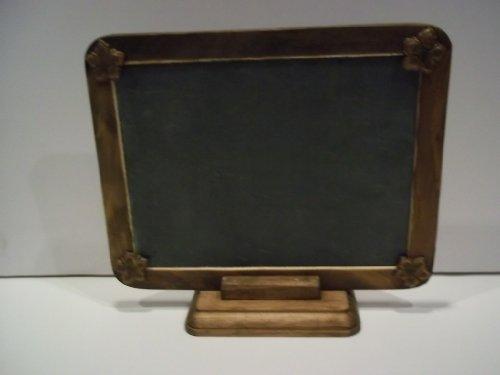 Vintage 9 x 7 Chalkboard Slate Dark Wood Framw Decal Flowers