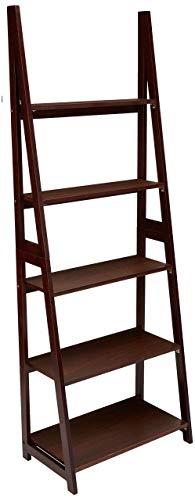 AmazonBasics Modern 5-Shelf Ladder Bookcase Organizer with Solid Rubber Wood Frame - Espresso