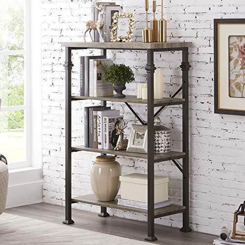 Hombazaar 4-Tier Industrial Bookcases Vintage Open Etagere Bookshelf Multi-Functional Shelf Units for Collection Grey Oak