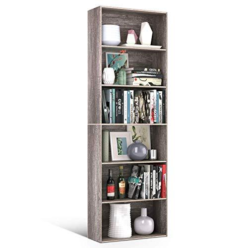 Homfa Bookshelf 70 in Height Wood Bookcase 6 Shelf Free Standing Display Storage Shelves Standard Organization Collection Decor Furniture for Living Room Home Office Dark Oak
