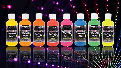 Sargent Art 17-5708 Neon Tempera Paint 8 Ounce 8 Vibrant Fluorescent Colors 8 Flip Cap Bottles 8 Count