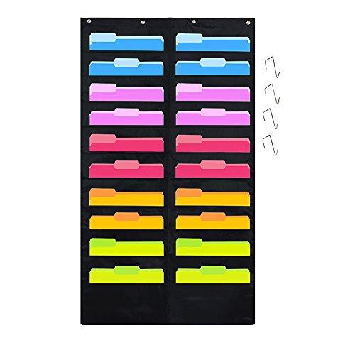 Godery Folder Pocket Chart Black Cascading Wall Organizer for school classroom home or office use 20 pocket chart hanging wall organizer with 4 Hangers