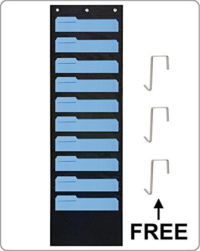 Storage Pocket Chart Hanging Wall File Folder Organizer with 10 Pockets Including 3 Hooks Black
