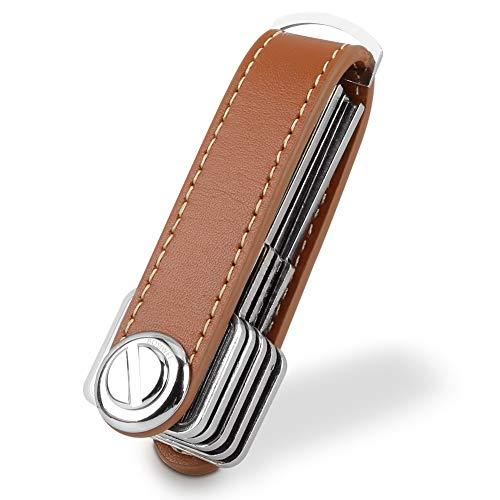 Compact Key Holder Leather Keychain Bosiwee Smart Key Organizer Folding Pocket Key Holder Chain20 up to 16 keys