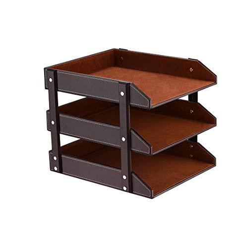 Desk 3 Tier File Document Letter Tray Organizer Leather Office Supply Storage Holder for Desktop Storage PaperStationeryMagazineNewspaperMailSundries Brown