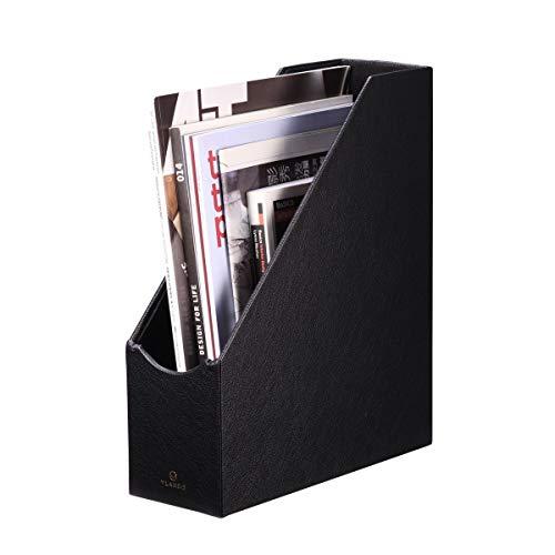 VPACK Magazine File Organizer Holder - Office PU Leather Desk Organizer Collection Assorted Color Onyx Black