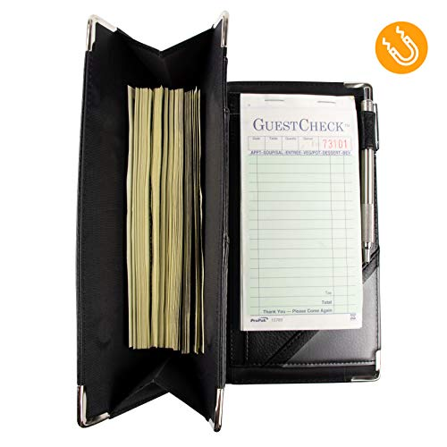 of Course High Volume Magnetic Server Book for Waitress and Waiter  Patent Pending 11 Pocket Design with Zipper  Premium Vegan Leather Organizer Wallet  Fits Aprons 9x5