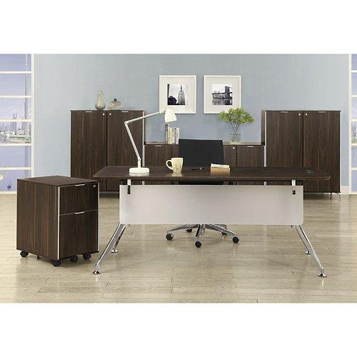 Astoria Executive Desk Suite Dark Walnut Laminate TopAcrylic Modesty PanelBlack and Chrome Aluminum Leg