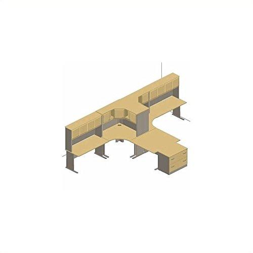 Bush Furniture Light Oak Advantage Series L-Shape Desk Suite