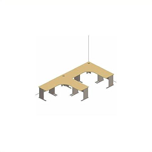 Bush Furniture White Spectrum and Pewter Advantage Series L-Shape Desk Suite