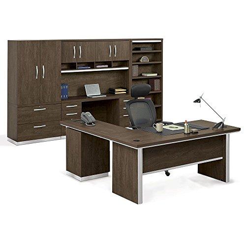 Complete L-Desk Suite Boardwalk Walnut LaminateTextured Silver Legs TrimSilver HardwareWeight 1268 lbs
