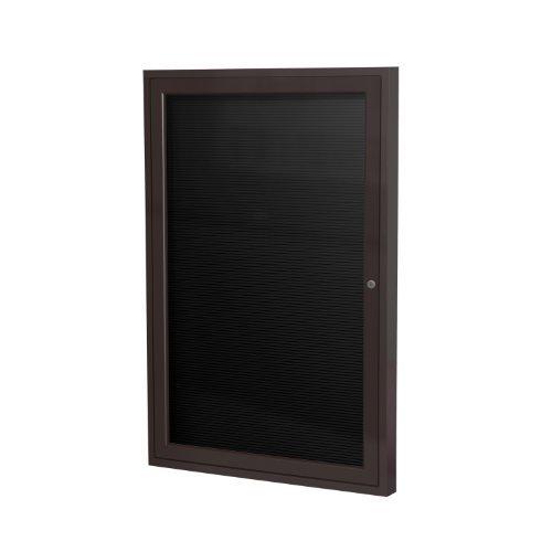 Ghent 2 x 1 12 1 Door Outdoor Enclosed Vinyl Letter Board Black Letter Panel Bronze Aluminum Frame PB121 12BX-BK