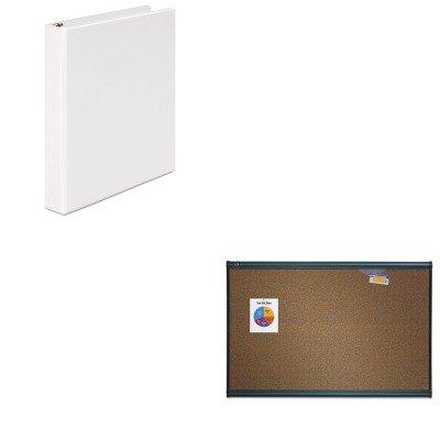 KITQRTB247GUNV20962 - Value Kit - Quartet Prestige Bulletin Board QRTB247G and Universal Round Ring Economy Vinyl View Binder UNV20962