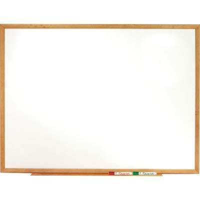 Standard Dry-Erase Board Melamine 48 x 36 White Oak Finish Wood Frame