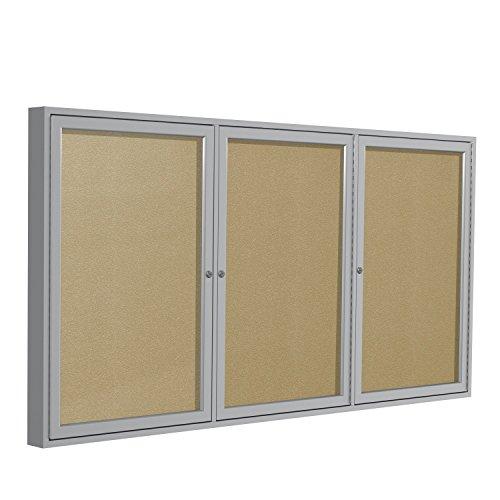 48x72  3-Door  Satin Aluminum Frame Enclosed Vinyl Bulletin Board - Caramel