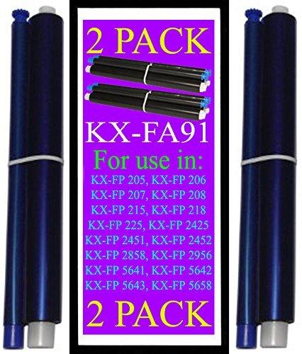 2-packs KX-FA91 Fax Film Ribbon Refill Rolls Compatible with Panasonic KX-FP205 KX-FP206 KX-FP207 KX-FP208 KX-FP215 KX-FP215E KX-FP218 KX-FP225 KX-FG2425 KX-FG2451 KX-FG2452 KX-FG2858 KX-FG2956 KXFA91