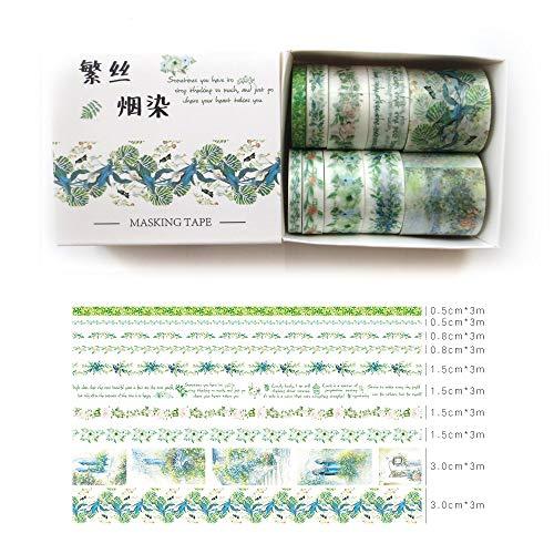 DzdzCrafts 10 Rolls Green Leaf Blossom Flower Floral Decorative Washi Tapes Set for Scrapbooking Dairy Planner Album 05cm 08cm 15cm 3cm Wide x 3M Each