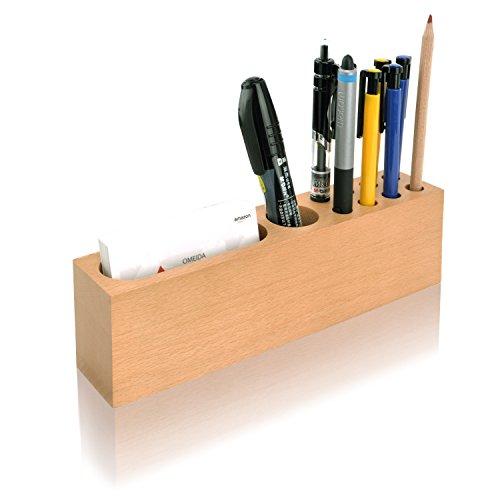 MaxGear Wood Pencil Stand Holder for Desk Business Card Holder for Desk with WoodOffice Pen HolderStand10 Slots Desktop Organizer Set for OfficeBeech Set