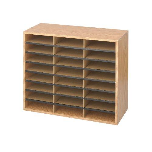 Safco Products 9402MO Literature Organizer WoodCorrugated 24 Compartment Medium Oak