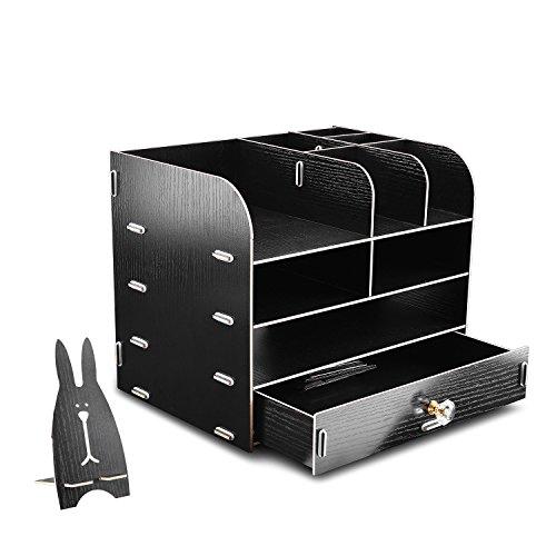 WEBO Black File Storage Box Holder Wood Files Supplies Office Supply Organizer DIY Wooden Detachable Desktop Multilayer File Frame A4A5 Paper Magazine Document Desk Shelf