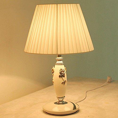 Baoduohui Ceramic table lamp bedroom bedside table lamp cloth energy saving desk lamp living room table lamp neo-classical gift desk lamp interface E27 white