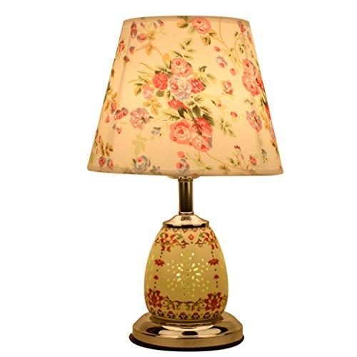 Baoduohui Ceramic table lamp bedroom table lampcloth energy saving desk lamp creative European simple modern wedding room table lamp interface E27 yellow