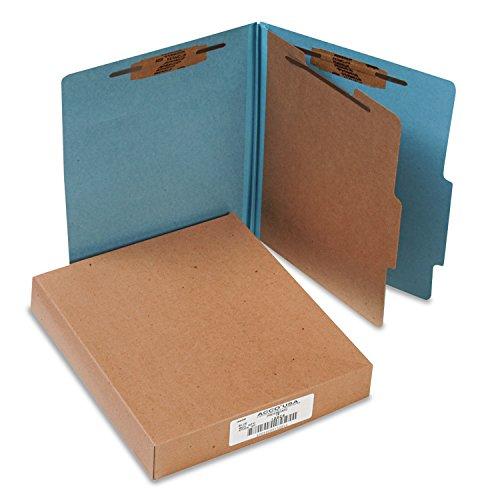 ACCO 15024 Pressboard 25-Pt Classification Folders Letter 4-Section Sky Blue 10Box