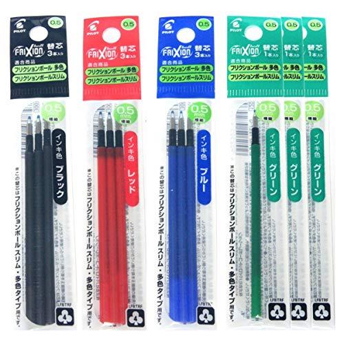 Pilot Gel Ink Refills for FriXion Ball 4 Gel Ink Multi Pen 05mm BlackBlueRedGreen Ink 6 Packs 12 refills total Value Set