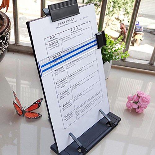 Kangkang Adjustable Desktop Document Book Reading Stand Holder Copyholder with Line Guide Ruler and Clip Black