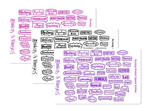 Nursing Student Nursing School Speech Bubble Stickers for The Happy Planner  Filofax  Erin Condren Life Planner  Kikki K  Color Crush Pink Purple and Black_Glossy