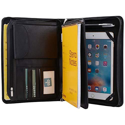 Deluxe Leather Padfolio Case Zipper Portfolio Organizer Folio Folder Fits iPad Mini 5 2019 and Junior Legal  A5 Paper