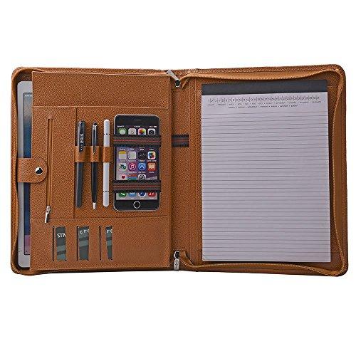 Design Portfolio Leather Organizer Zippered Handled Padfolio Case for MacBook AirPro11-13Brown