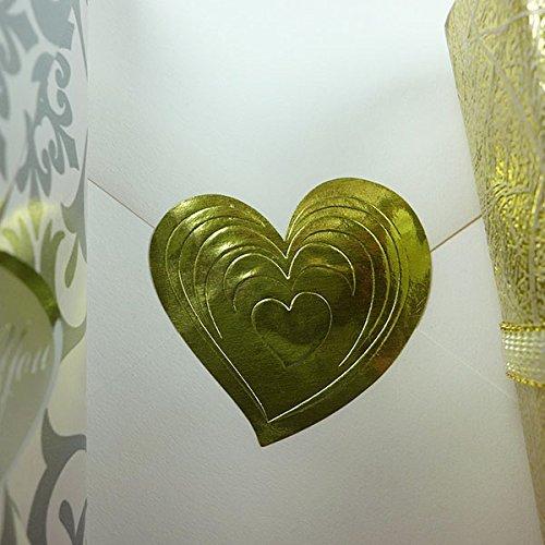 25 PCS Gold Heart Envelope Seals 1-12 X 1-38 Foil Embossed Stickers
