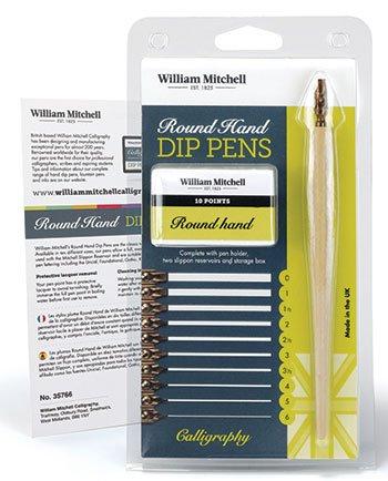 William Mitchell Calligraphy Ink Dip Pen Set Round Hand Square Cut WM35766