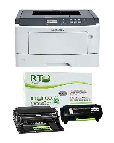 Renewable Toner MS417dn MICR Check Printer Bundle with 1 RT 50F0Z00 Compatible MICR Drum and 1 RT 51B1000 Compatible MICR Toner Cartridge