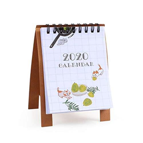 Desk Calendars Cartoon Mini Calendar 2020 New Year Simple Creative Office Desk Vertical Paper Multifunctional Schedule Plan Notebook Desktop Calendars Color  Cat