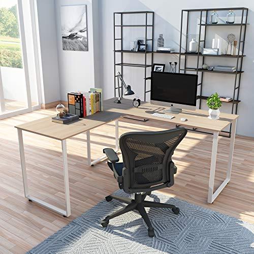 P PURLOVE L-Shaped Desk Home Office Corner Computer Desk 66 x 49 with 19 Deep PC Laptop Table Workstation Wood Steel Office Desk Oak