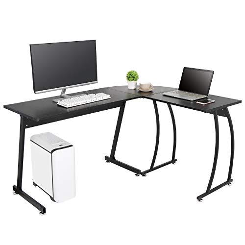ZenStyle L-Shape Corner Computer Desk Home Office PC Laptop Table Multipurpose Gaming Workstation with Solid Steel FrameWaterproof Desktop