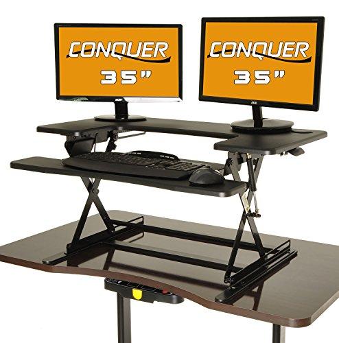 Conquer Height Adjustable Standing Desk Monitor Riser 35 Desktop Sit to Stand Workstation