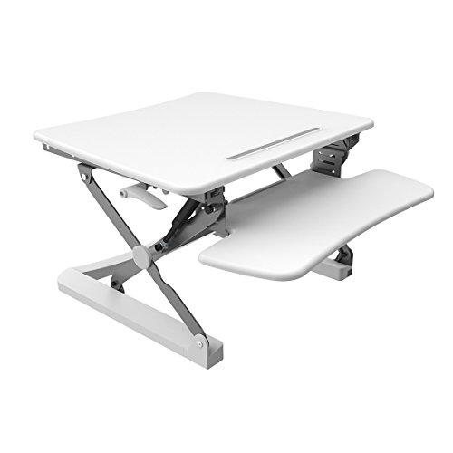 FlexiSpot 27 Wide Platform Height Adjustable Standing Desk Removable Keyboard Tray White M1W