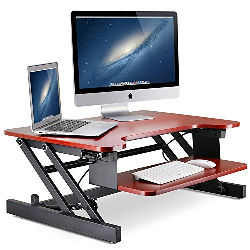 Standing Desk Little Tree 32in Height Adjustable Stand Up Desk Riser with Wide Keyboard Tray Sit to Stand Converter 2 Tier Gas Spring Hovering System for Dual Monitor 32in Teak Finish