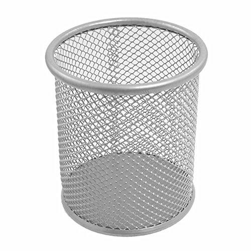 GOOTRADES 2 Pcs 35 inch Round Metal Mesh Cup Desk Pen Pencil Holder Silver