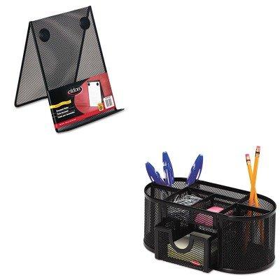 KITROL1746466ROLFG9C9500BLA - Value Kit - Rolodex Nestable Wire Mesh Freestanding Desktop Copyholder ROLFG9C9500BLA and Rolodex Mesh Pencil Cup Organizer ROL1746466